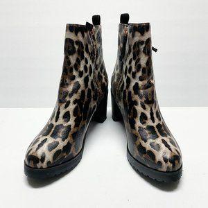 FSJ Round Toe Mid Chunky Heel Leopard Print Boots